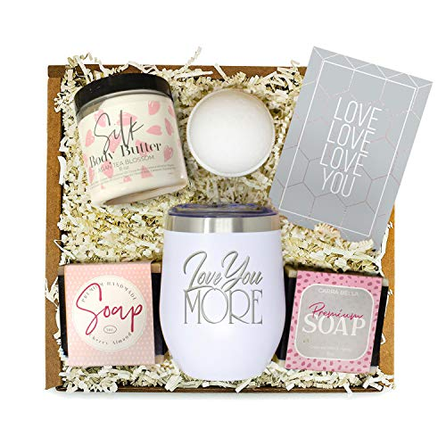 Gifts for Women - Best Relaxing Spa Gift Box Basket for Wife Girlfriend Mom Sister Daughter BFF - Bath Set'Love You More' Tumbler - Birthday Anniversary Valentines Day Romantic Unique Present for Her
