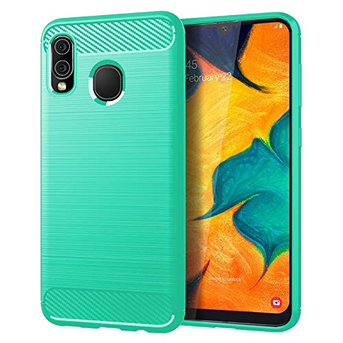 Samsung A20 case,Galaxy A20 Case,Galaxy A30 Case,MAIKEZI Soft TPU Slim Fashion Anti-Fingerprint Non-Slip Protective Phone Case Cover for Samsung Galaxy A20/A30(Mint Brushed TPU)