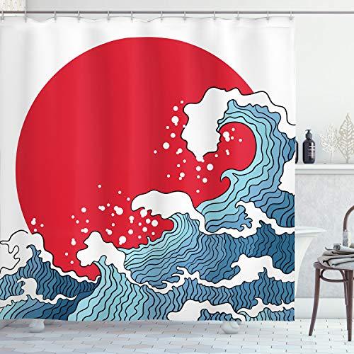ABAKUHAUS Japanische Welle Duschvorhang, Red Sun Tsunami, Hochwertig mit 12 Haken Set Leicht zu pflegen Farbfest Wasser Bakterie Resistent, 175 x 200 cm, Rot Blau Weiß