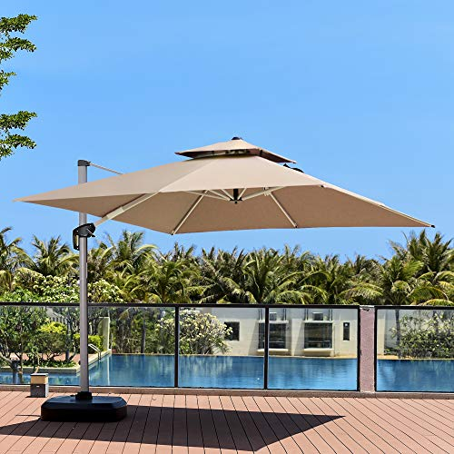 PURPLE LEAF 10 Feet Double Top Deluxe Square Patio Umbrella Offset Hanging Umbrella Outdoor Market Umbrella Garden Umbrella, Khaki
