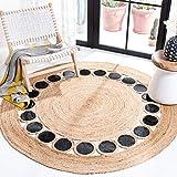 Safavieh Natural Fiber Round Collection NF370Z Handmade Boho Woven Jute & Leather Area Rug, 6' x 6' Round, Beige / Black