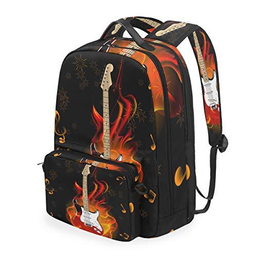 CPYang Schulrucksack, Musiknote, Gitarre, Feuerwerk, abnehmbare Schultertasche für Reisen, Laptop, Rucksack für Mädchen Jungen und Damen