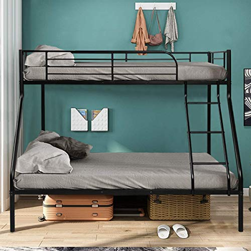 Giantex Twin Over Full Bunk Bed, Metal Bed Frame with Ladder and Guard Rail, 2 Space-Saving Beds for Teen-Agers, Kids, Students and Adults (Black)