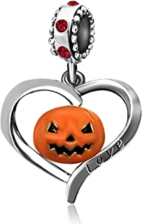 JMQJewelry Pumpkin Heart Halloween Love Birthstone Dangle Charms for Bracelet Women Jewelry