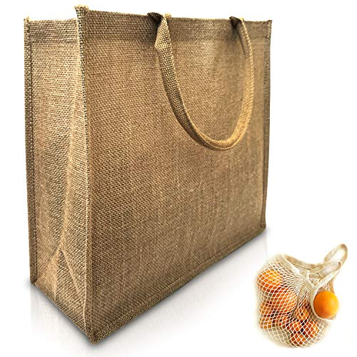 (Pack of 6 plus 1 Net Bag) Eco Friendly Reusable Jute Bag Burlap Tote Bags Natural Linen Bags with Soft Cotton Handles and Laminated Interior Large Size 15.5 x 13.75 x 6 Inches Plus 1 Net Bag Sack (6)
