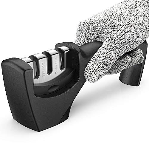 Kitchen Knife Sharpener,2020 Best Upgraded 3-Stage Blade Senzu Sharpener Stone(Ceramic,Coarse,Fine).Made For Chef/Fillet Knives.Easy Manual Sharpening with Cut-Resistant Glove for More Safety