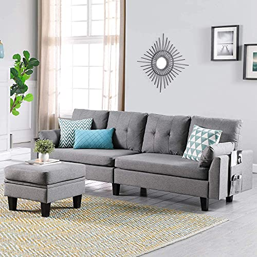 Ohuhu Upgraded Convertible Sectional Sofa Couch, 4-seat L-Shape Sofa Couch with Movable Storage Ottoman & Bag for Living Room Apartment
