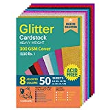 Heavyweight Glitter Cardstock Paper - 110lb. / 300GSM - 50 Sheets A4 Colored Craft Card Stock for Craft Project, DIY, Gift Wrapping, Birthday Party Wedding Decorations, Scrapbooking, 8 Assorted Color