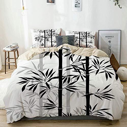 Juego de funda nórdica Beige, árbol de la vida Silueta de hojas de árbol de bambú antiguo Imagen japonesa Zen Feng Shui Boho Blanco Negro, juego de cama decorativo de 3 piezas con 2 fundas de almohada