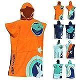 TEAM MAGNUS Bademantel/Strandtuch - großes Handtuch für Bad u. Outdoors - Vier Coole Designs/Farben im Poncho-Stil (Einheitsgröße für Kinder u. Teens...