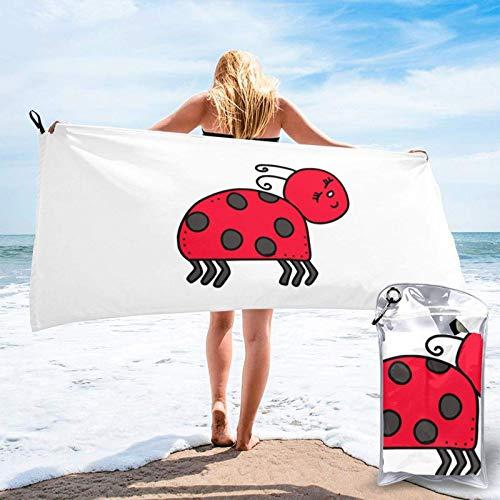 Unique Life Toalla de baño Happy Ladybird, toalla de gimnasio, toalla de playa, microfibra suave de secado rápido, ligero