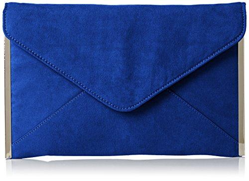 SwankySwans Louis Suede Slim Envelope Party Prom Clutch Bolso Clutch Clutch Clutch, Azul (Royal Blue), Talla Unica