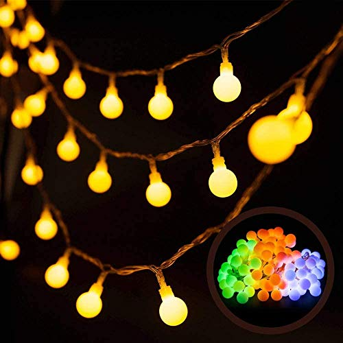 A-Generic Lámpara de 10lled Cadena 8 Modo Corona Luminosa Exterior Decoración de Interiores Impermeable Cadena Lámpara LED Adecuado para jardín Casa Festival de Boda