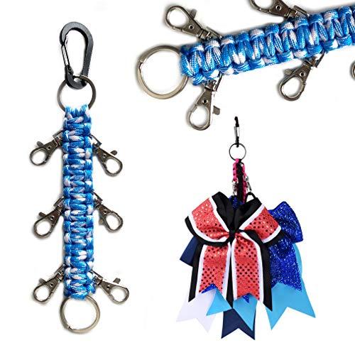 DEEKA Paracord Handmade Cheer Bows Holder for Cheerleading Teen Girls High School College Sports - Sky Blue White Camo