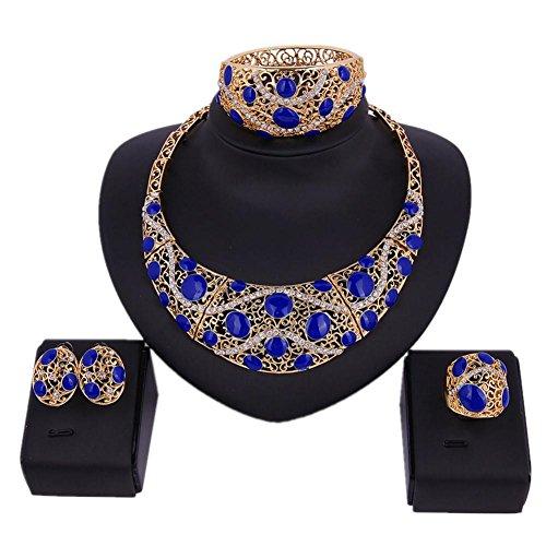 Vrouwelijke Mode Holle Inlay Boor Patroon Ketting Oorbellen Armband Ring Sieraden Vier stuks set Bruid Retro Getrouwd Sieraden Pak