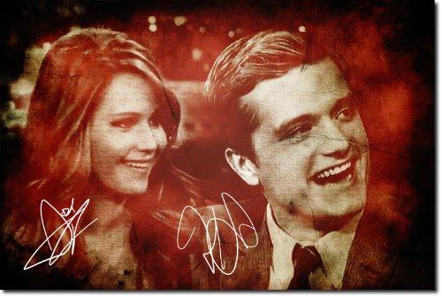 Jennifer Lawrence und Josh Hutcherson Kunstdruck (mit signierter Autogramm Nachbildung) Hochglanz Poster - Größe: 12 x 8 Inches (30x20cm)