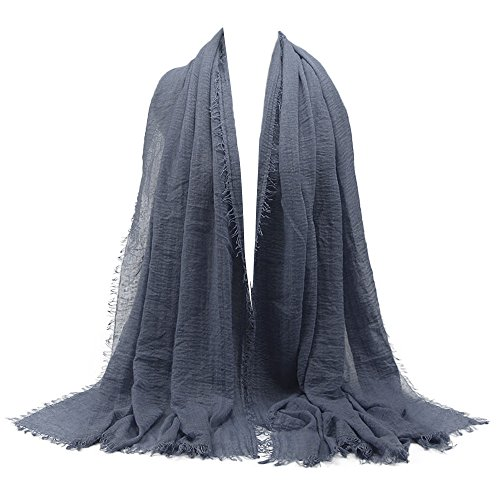 KPILP Premium Viskose Maxi Crinkle Cloud Hijab Schal Pashminas Soft Islam Muslim Kopftücher Umhang,Marine 28#