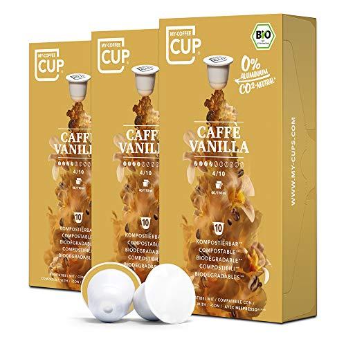 BIO Kaffeekapseln von My-CoffeeCup | Kompatibel mit Nespresso®*-Maschinen | 100% kompostierbare Kapseln ohne Alu (Caffé Vanilla, 30 Kapseln)