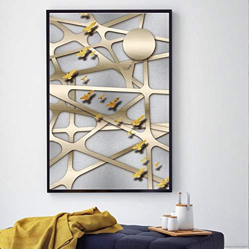 Posters en kunstdrukken op canvas woonkamer abstracte muurkunst afbeelding huis decoratie champagne metalen rooster frameloos