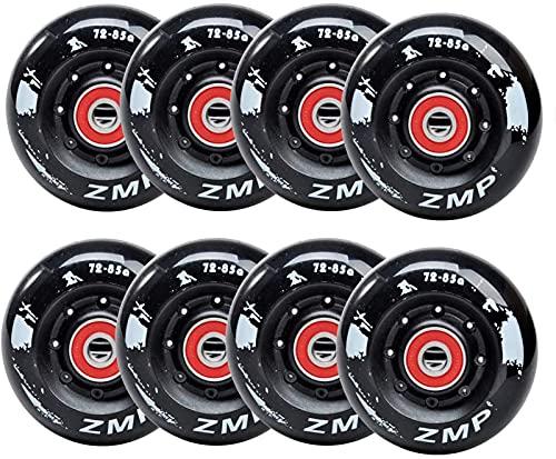 8 Pack En Línea Skate Wheels 85a Para Patinaje En Línea De Asfalto O Hockey Para Exteriores / De Interior / De Interior, Con Rodamientos Para Niñas Y Niños, Ruedas De Skate De R(Size:72mm,Color:Negro)