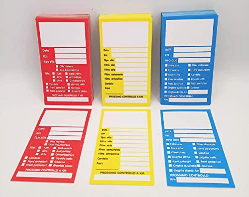 Etichette Adesive Cambio Olio Motore (da 10 a 250 pezzi) Adesivo Tagliando Auto Cartellino Manutenzione Motore Veicolo (Rosso, 100)
