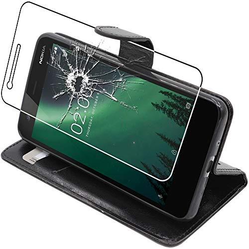 ebestStar - Cover Nokia Nokia 2 Custodia Portafoglio Pelle PU Protezione Libro Flip, Nero + Pellicola Vetro Temperato [Apparecchio: 143.5 x 71.3 x 9.3mm, 5.0'']