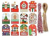 Yansanido 96個 クリスマスクラフトペーパー クリスマスギフトタグ 12スタイル DIY クリスマスホリデープレゼント ラップスタンプとラベル パッケージネームカード ホリデータグ ハンギングサインタグ(96個-12スタイルカラフル)