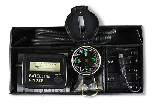 SAT-Finder Profiset mit Kompass, Kabel, Batteriehalter & Tasche, (Sat-Finder bis 2300 MHz)