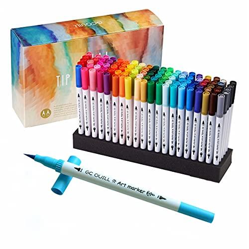 GC Aquarell Doppelspitze Stift Set - 100 Farben Kunst Marker mit flexiblen Pinsel und Fineliner Spitzen - zum Ausmalen, Zeichnen, Malen und Schreiben - für Tagebücher, Planer und Kalligraphie GC-100W