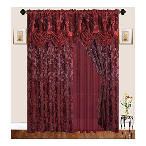 Sapphire Home Traditional Curtain Drape Set (2 Panels) 84 Inch Long, Includes Attached Valance, Sheer Backing, 2 Tassels, Leaf Floral Pattern Drape, EM48-84, Burgundy