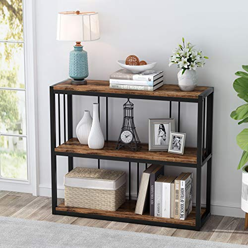 Tribesigns 3-Tier Industrial Console Table, Hallway Sofa Table, Narrow Side Table Entrance Console with 2-Shelves for Living Room, Hallway, Corridor, Sturdy and Easy Assembly