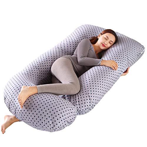 MINGPINHUIUS Almohada de Embarazo, Almohada Embarazada Dormir en Forma de J, Multifuncional Embarazo Almohada de Cuerpo Completo para Soporte de Vientre/Caderas/Piernas/Espalda, Extraíble Lavable