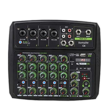 Bomaite C6 Audio Mixer 6-CHANNEL DJ Sound Controller Interface with USB for PC Recording USB Audio Interface Audio Mixer 2-Band EQ for Live Streaming