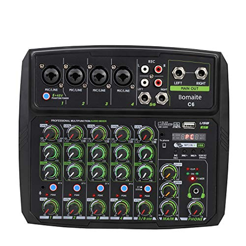 Bomaite 6 Channel Portable Digital Audio Mixer Console with Sound Card, Bluetooth, USB, 48V Phantom Power for DJ PC Recording