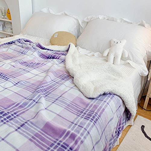 XUMINGLSJ Manta de Microfibra Color sólido, Extra Suave Mantas para Sofás, Multifuncional para sofá, Cama, Viajes, Adultos, niños -púrpura_Los 90 * 110cm