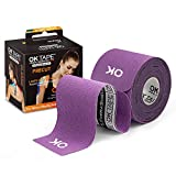 OK TAPE Kinesiology Tape (20 Strips Precut) - Latex Free, Waterproof Athletic Tape Sports for Pain Relief, Supports and Stabilizes Knee&Muscles&Joints | 2inch x 16.4 feet Roll, Purple
