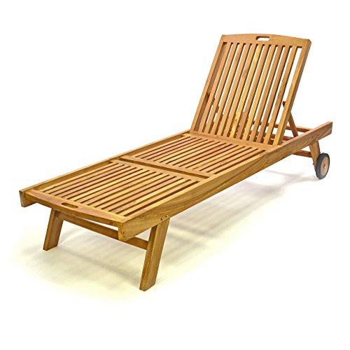 Divero Sonnenliege Gartenliege Relaxliege Liege Holzliege Teak Holz für Garten Terrasse Balkon Sauna witterungsbeständig massiv Natur behandelt (wählbar) (Teak braun)
