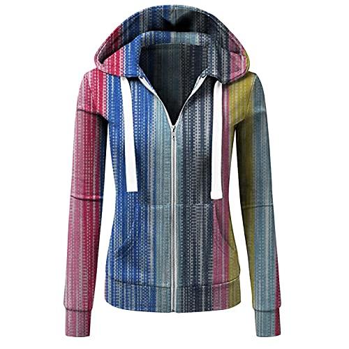 Sunggoko Sudadera para mujer con capucha para otoño/invierno, estilo informal, a rayas, con cremallera y bolsillo, a cuadros 74