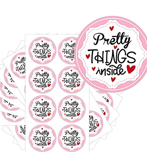 Pretty Things Inside Stickers - Round Pink Thank You Stickers with Hearts - 2 Inch 504 Total Labels (Pink)