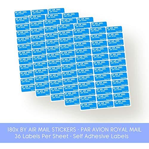 Air Mail Par Avion Royal Mail Aufkleber, selbstklebend, Blau, 36 Etiketten pro Bogen