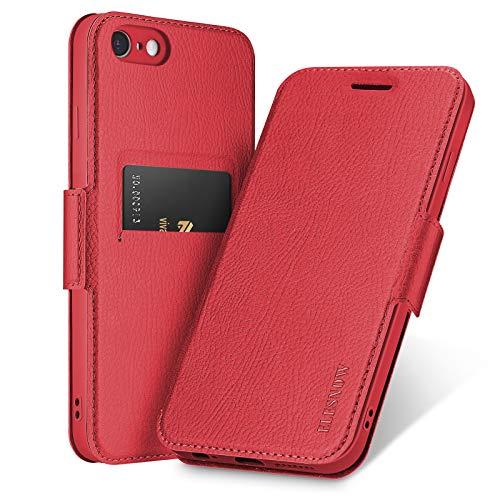 ELESNOW Funda para iPhone 6 Plus / 6s Plus, Carcasa de Cuero con Cierre Magnético y Tarjetero para Apple iPhone 6 Plus / 6s Plus (Rojo)
