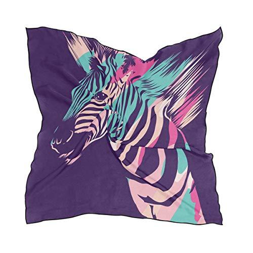 QMIN - Pañuelo cuadrado de seda con estampado de cebra de animales, ligero, pañuelo para el cabello, pañuelos para el cuello, para mujer, 60 x 60 cm