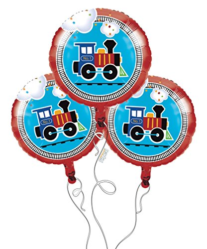 All Aboard Train Birthday Mylar Balloons - 3 Pack