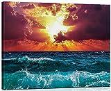 WISKALON Pintar por Numeros, DIY Pintura acrílica Kit para Principiantes Adultos y Niños - Amanecer sobre el mar 16 * 20 Pulgadas con Pinceles y Pinturas DIY Pintura al óleo (con Marco de Madera)