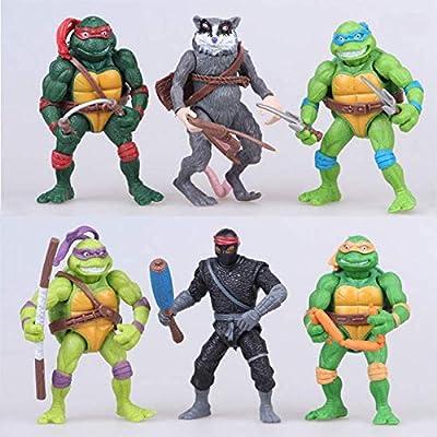 Ninja Turtles 6 PCS Set TMNT Action Figures - Ninja Turtles Toy Set Teenage Mutant Ninja Turtles Action Figures Mutant Teenage Set Leonardo, Raphael, Michelangelo, Donatello
