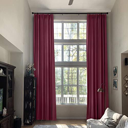 Prim Pinch Pleat Curtains Extra Length Drapes 204 inch Length Blackout Room Darkening Loft Farmhouse Curtains, Burgundy Red, 1 Panel