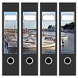 Ordneretiketten | 4 Aufkleber für breite Akten-Ordner | Hafen und Boote | selbstklebende Design Akten-Etiketten | Deko Sticker für Rückenschilder Ordnerrücken | zum Beschreiben