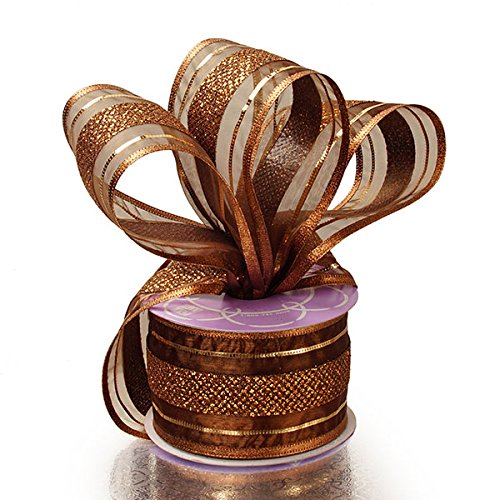 "2 1/2"" X 10 Yards Bronze Wendy Stripe Wired Ribbon"