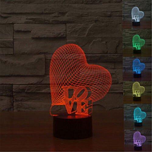 Preisvergleich Produktbild Love Herz 3D Lampe Optische LED Täuschung Nachtlicht, HAIYU 7 Farbwech mit Acryl Flat & ABS Base & USB-Ladegerät ändern Berühren Sie Botton Schreibtisch lampe Tischleuchte