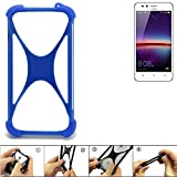 K-S-Trade® Handyhülle Für Huawei Y3 II Dual-SIM Silikon Schutz Hülle Cover Case Bumper Silikoncase TPU Softcase Schutzhülle Smartphone Stoßschutz, Blau (1x),